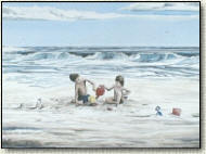 paintings of children playing at the beach