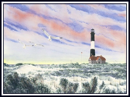 Lighthouse Friends Watercolor Painting